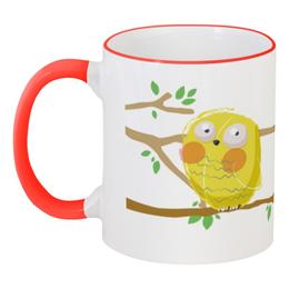 """Кружка с цветной ручкой и ободком """"Желтый совенок. Нет кофе, нет работы"""" - прикол, юмор, надпись, работа, в подарок, сова, текст, авторская работа, желтый совенок"""
