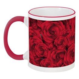 """Кружка с цветной ручкой и ободком """"Розочки"""" - красиво, цветы, подарок, розы, день влюблённых"""