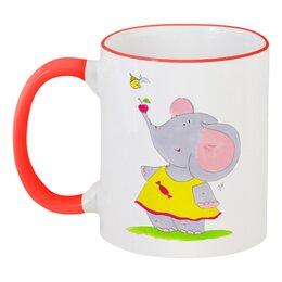 """Кружка с цветной ручкой и ободком """"Дружба"""" - конфеты, подруге, милое, чай, слоненок"""