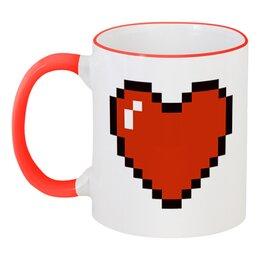 """Кружка с цветной ручкой и ободком """"Пиксельное сердце (Minecraft)"""" - сердце, день святого валентина, 14 февраля, майнкрафт, день влюблённых"""