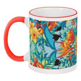 """Кружка с цветной ручкой и ободком """"Лилии"""" - красиво, цветы, ярко, природа, лилии"""