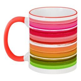 """Кружка с цветной ручкой и ободком """"Радуга"""" - узор, радуга, рисунок, полосатый, красочный"""