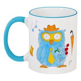 """Кружка с цветной ручкой и ободком """"Настоящий джентльмен"""" - любимому, сова, мужчине, owl"""
