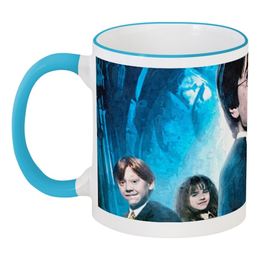 """Кружка с цветной ручкой и ободком """"Гарри Поттер"""" - сова, гарри, поттер, рон, гермиона"""