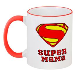 """Кружка с цветной ручкой и ободком """"Супер Мама"""" - мама, супермен, комиксы"""