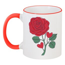 """Кружка с цветной ручкой и ободком """"Розочка"""" - цветы, день святого валентина, сердечки, день влюблённых, розочка"""