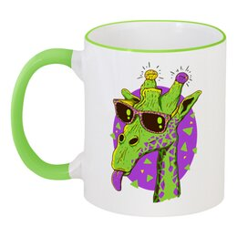 """Кружка с цветной ручкой и ободком """"Забавный жираф"""" - жираф, сафари, очки"""