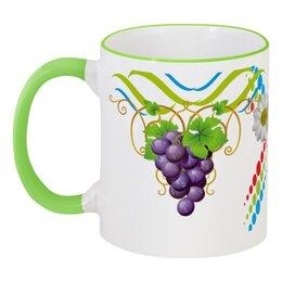 """Кружка с цветной ручкой и ободком """"Просто красиво"""" - ромашки, орнаменты, хороший подарок, изображение цветное, виноградная гроздь"""