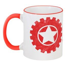 """Кружка с цветной ручкой и ободком """"RED'S Logo"""" - red, мотоцикл, байкер, механика, шестерёнки"""