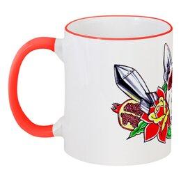 """Кружка с цветной ручкой и ободком """"Петя"""" - dog, flowers, розы, бультерьер, бомба, дог, гранат, питбуль, tm kiseeva"""