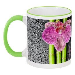 """Кружка с цветной ручкой и ободком """"Наталья"""" - цветы, 8 марта, стильный, орхидея, 8мар"""