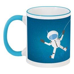 """Кружка с цветной ручкой и ободком """"Космонавт в открытом космосе."""" - рисунок, космос, космонавт, полёт, скафандр"""