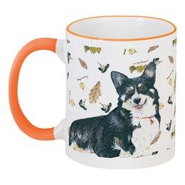 """Кружка с цветной ручкой и ободком """"Моя любимая собака"""" - животные, собака, символгода, корги, вельшкорги"""