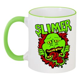 """Кружка с цветной ручкой и ободком """"Лизун (Slimer)"""" - ghostbusters, охотники за приведениями"""