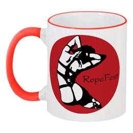 """Кружка с цветной ручкой и ободком """"Shibari RopeFest"""" - арт, эротика, шибари"""