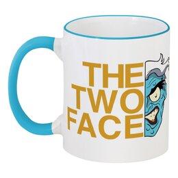 """Кружка с цветной ручкой и ободком """"Двуликий"""" - двуликий, two face"""