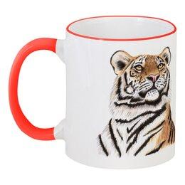 """Кружка с цветной ручкой и ободком """"Взгляд тигра"""" - хищник, животные, взгляд, тигр, зверь"""