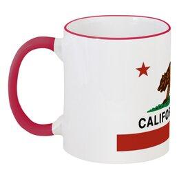 """Кружка с цветной ручкой и ободком """"California love"""" - секс, sex, медведь, california, калифорния"""