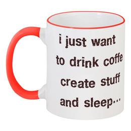 """Кружка с цветной ручкой и ободком """"coffee 3"""" - кофе, coffee, tm kiseleva"""