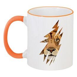 """Кружка с цветной ручкой и ободком """"Лев ( Lion)"""" - хищник, лев, lion, животное, царь зверей"""