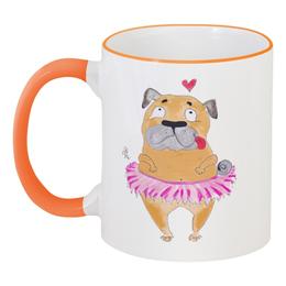 """Кружка с цветной ручкой и ободком """"Любимый мопс"""" - сердце, pug, девочка, собаки, мопс"""