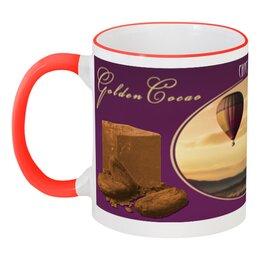 """Кружка с цветной ручкой и ободком """"Golden Cacao  """" - английский, chocolate, air balloon, to fly, golden life"""