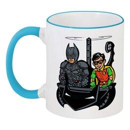 """Кружка с цветной ручкой и ободком """"Бэтмен и Робин"""" - batman, бэтмен, robin, робин"""
