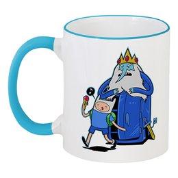"""Кружка с цветной ручкой и ободком """"Финн и Ледяной король"""" - adventure time, время приключений, финн, ледяной король"""