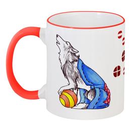 """Кружка с цветной ручкой и ободком """"Сказрочный волк"""" - сказка, игрушка, волк, wolf"""