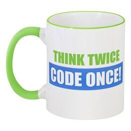 "Кружка с цветной ручкой и ободком ""Think twice, code once!"" - код, программист, code, think twice, programmer"