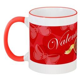 """Кружка с цветной ручкой и ободком """"День Св. Валентина"""" - сердце, валентинка, день св валентина"""