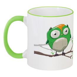 """Кружка с цветной ручкой и ободком """"Зеленый совенок. Нет кофе, нет работы"""" - green, работа, кофе, owl, совенок, зеленый совенок, совенок на ветке, little owl"""