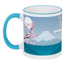 """Кружка с цветной ручкой и ободком """"Фудзияма"""" - небо, природа, япония, сакура, гора"""