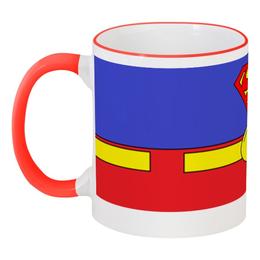 """Кружка с цветной ручкой и ободком """"Костюм Суперменв"""" - comics, супермен, superman, dc"""