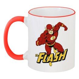"""Кружка с цветной ручкой и ободком """"Флэш """" - flash, комиксы, супергерои, флэш"""