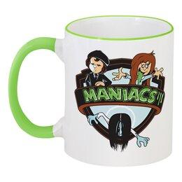 """Кружка с цветной ручкой и ободком """"Maniacs (Маньяки)"""" - звонок, маньяки, maniacs, самара морган"""