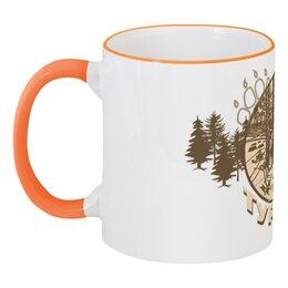 """Кружка с цветной ручкой и ободком """"Турист"""" - палатка, лес, деревья, стул, стол"""