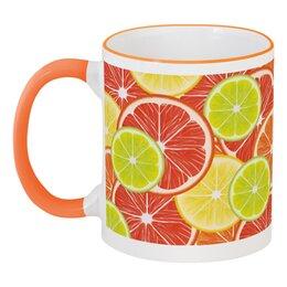 """Кружка с цветной ручкой и ободком """"Цитрусы"""" - апельсин, лайм, лимон, грейпфрут, дольки"""