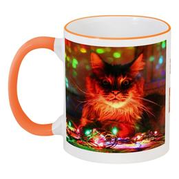 """Кружка с цветной ручкой и ободком """"Котейка гарантирует!"""" - кот, кошак, новый год, оранжевый, счастье, в подарок, котэ, яркий, свет, рождество"""