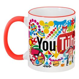"""Кружка с цветной ручкой и ободком """"чашка Youtube"""" - арт, животные, youtube, анимэ"""