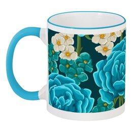 """Кружка с цветной ручкой и ободком """"Красивые цветы"""" - красиво, цветы, ярко, природа, красивые цветы"""