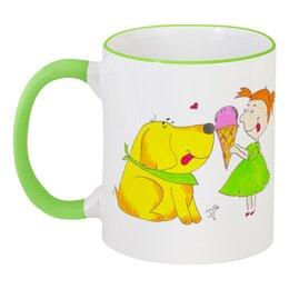 """Кружка с цветной ручкой и ободком """"Другу"""" - лето, дружба, собака, другу, мороженое"""