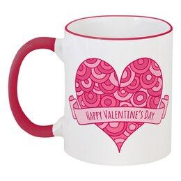 """Кружка с цветной ручкой и ободком """"День святого Валентина"""" - любовь, сердца, день святого валентина, 14 февраля, день влюблённых"""