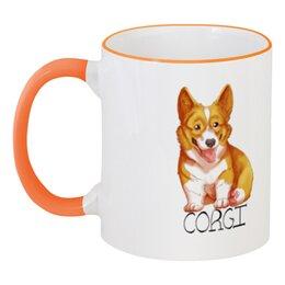 """Кружка с цветной ручкой и ободком """"Милый Корги"""" - рисунок, собаки, корги"""