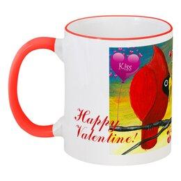 """Кружка с цветной ручкой и ободком """"У птиц День Св. Валентина"""" - день всех влюблённых, птица кардинал, красная птица, день святого валентина, подарок для девушки"""
