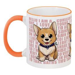 """Кружка с цветной ручкой и ободком """"Корги"""" - корги, год собаки, животные, собаки, пёсик"""