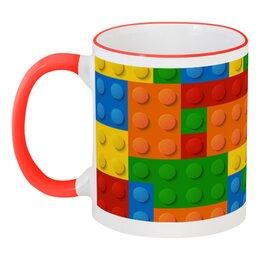 """Кружка с цветной ручкой и ободком """"Конструктор Лего"""" - рисунок, детский, игрушка, конструктор, лего"""