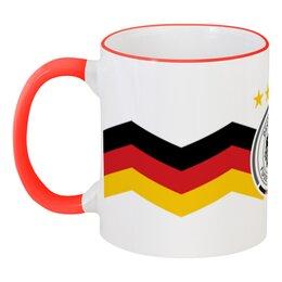 """Кружка с цветной ручкой и ободком """"Сборная Германии"""" - футбол, германия, сборная германии по футболу, сборная германии"""