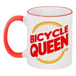 """Кружка с цветной ручкой и ободком """"Велосипедная  королева"""" - велосипед, бургер кинг, велосипедная королева"""