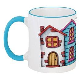 """Кружка с цветной ручкой и ободком """"Home, sweet home"""" - арт, домик, home, акварель, sweet"""